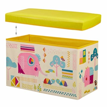 Relaxdays Sitzbox Kinder, Faltbare Aufbewahrungsbox mit Stauraum, Deckel, Motiv Tiere, Jungen & Mädchen, 50 Liter, gelb, 36 x 60,5 x 30,5 cm - 6
