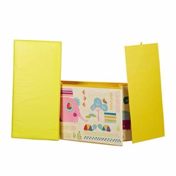 Relaxdays Sitzbox Kinder, Faltbare Aufbewahrungsbox mit Stauraum, Deckel, Motiv Tiere, Jungen & Mädchen, 50 Liter, gelb, 36 x 60,5 x 30,5 cm - 7