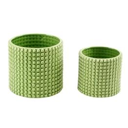 Set von 2pistazie grün Keramik Hobnail Strukturierte Pflanzgefäße, Vintage Blumentöpfe - 1