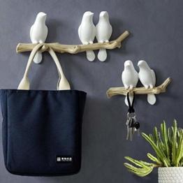 SM SunniMix Vögel auf Baum Design Garderobenhaken Kleiderhaken Wandhaken Mantelhaken, bis 4 Vögel - 3 Vögel - 1