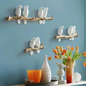 SM SunniMix Vögel auf Baum Design Garderobenhaken Kleiderhaken Wandhaken Mantelhaken, bis 4 Vögel - 3 Vögel - 8