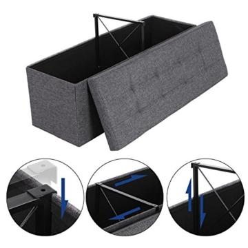 SONGMICS Sitzbank mit Stauraum, Sitztruhe, Aufbewahrungsbox, faltbar, max. statische Belastbarkeit 300 kg, mit Trenngitter aus Metall, 120 L, 110 x 38 x 38 cm, Leinenimitat, dunkelgrau LSF77K - 2