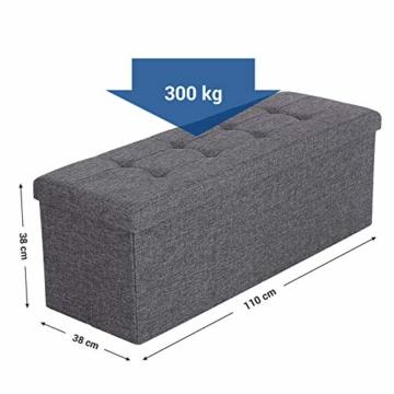 SONGMICS Sitzbank mit Stauraum, Sitztruhe, Aufbewahrungsbox, faltbar, max. statische Belastbarkeit 300 kg, mit Trenngitter aus Metall, 120 L, 110 x 38 x 38 cm, Leinenimitat, dunkelgrau LSF77K - 6
