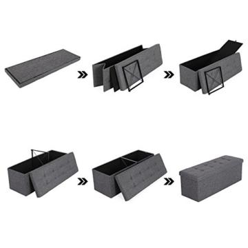 SONGMICS Sitzbank mit Stauraum, Sitztruhe, Aufbewahrungsbox, faltbar, max. statische Belastbarkeit 300 kg, mit Trenngitter aus Metall, 120 L, 110 x 38 x 38 cm, Leinenimitat, dunkelgrau LSF77K - 7
