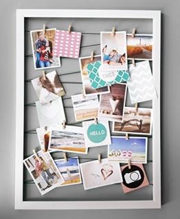 Spetebo Fotohalter 75x55 cm weiß - Leine mit 20 Holz Klammern - Fotorahmen Bilder Rahmen Galerie - 1