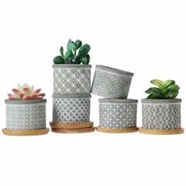 T4U 6cm Zement Sukkulenten Töpfchen mit Untersetzer Rund 6er-Set, Beton Mini Blumentopf mit Muster für Kaktus Miniaturpflanzen - 1