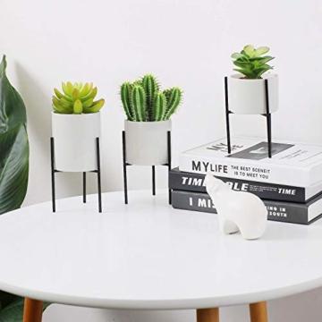 T4U 8cm Mini Sukkulenten Töpfchen Weiß Keramik Rund mit Ständer 3er-Set für Miniaturpflanzen Zimmerpflanzen Kakteen - 2