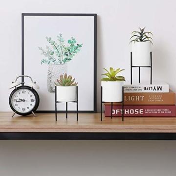 T4U 8cm Mini Sukkulenten Töpfchen Weiß Keramik Rund mit Ständer 3er-Set für Miniaturpflanzen Zimmerpflanzen Kakteen - 3