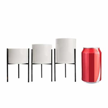 T4U 8cm Mini Sukkulenten Töpfchen Weiß Keramik Rund mit Ständer 3er-Set für Miniaturpflanzen Zimmerpflanzen Kakteen - 7