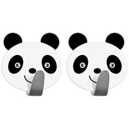 Tatkraft Panda 2er Pack Klebehaken Kinder, Handtuchhalter Aus Edelstahl, Handtuchhaken Selbstklebend, Schnell Montiert, Humorvolles Design Für Jedes Alter - 1