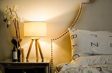 Tomons LED Nachttischlampe aus Holz, minimalistischer Stil geeignet für Schlafzimmer mit warmer, gemütlicher Atmosphäre, 4 W LED im Lieferumfang enthalten - 4