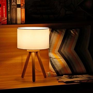 Tomons LED Nachttischlampe aus Holz, minimalistischer Stil geeignet für Schlafzimmer mit warmer, gemütlicher Atmosphäre, 4 W LED im Lieferumfang enthalten - 5