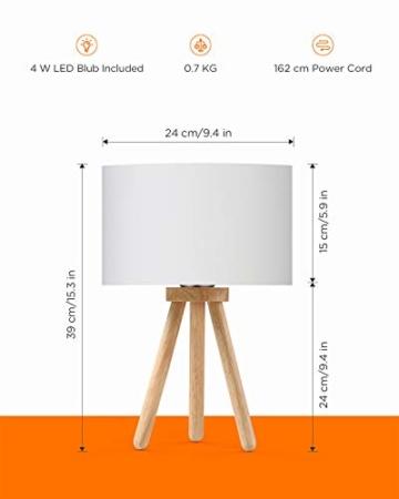 Tomons LED Nachttischlampe aus Holz, minimalistischer Stil geeignet für Schlafzimmer mit warmer, gemütlicher Atmosphäre, 4 W LED im Lieferumfang enthalten - 6
