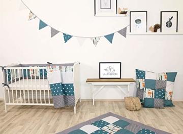 ULLENBOOM ® Wimpelkette Waldtiere Petrol (Stoff-Girlande: 1,9 m, 5 Wimpel, Dekoration für Kinderzimmer & Baby Geburtstage, Motiv: Elefanten, Sterne) - 3