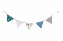 ULLENBOOM ® Wimpelkette Waldtiere Petrol (Stoff-Girlande: 1,9 m, 5 Wimpel, Dekoration für Kinderzimmer & Baby Geburtstage, Motiv: Elefanten, Sterne) - 1