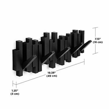 Umbra Sticks Garderobenhaken – Moderne und Platzsparende Garderobenleiste mit 5 Beweglichen Haken für Jacken, Mäntel, Schals, Handtaschen und Mehr, Schwarz - 2