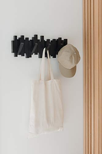 Umbra Sticks Garderobenhaken – Moderne und Platzsparende Garderobenleiste mit 5 Beweglichen Haken für Jacken, Mäntel, Schals, Handtaschen und Mehr, Schwarz - 3