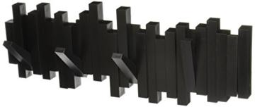 Umbra Sticks Garderobenhaken – Moderne und Platzsparende Garderobenleiste mit 5 Beweglichen Haken für Jacken, Mäntel, Schals, Handtaschen und Mehr, Schwarz - 1