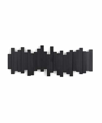 Umbra Sticks Garderobenhaken – Moderne und Platzsparende Garderobenleiste mit 5 Beweglichen Haken für Jacken, Mäntel, Schals, Handtaschen und Mehr, Schwarz - 5