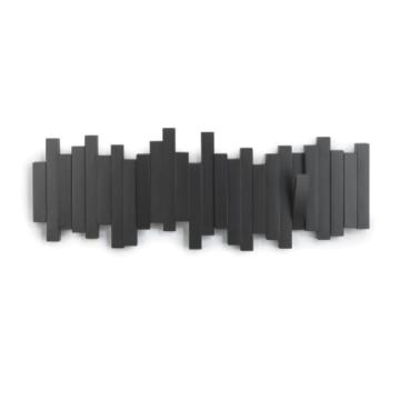 Umbra Sticks Garderobenhaken – Moderne und Platzsparende Garderobenleiste mit 5 Beweglichen Haken für Jacken, Mäntel, Schals, Handtaschen und Mehr, Schwarz - 6