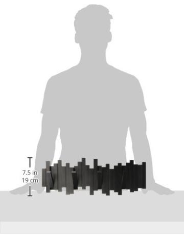 Umbra Sticks Garderobenhaken – Moderne und Platzsparende Garderobenleiste mit 5 Beweglichen Haken für Jacken, Mäntel, Schals, Handtaschen und Mehr, Schwarz - 10