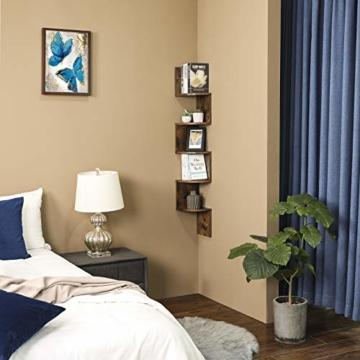 VASAGLE Eckregal mit 5 Ebenen für die Wand, Holzregal, für Küche, Schlafzimmer, Wohnzimmer, Lernzimmer, Büro, Vintage, Dunkelbraun LBC20BX - 2