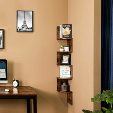 VASAGLE Eckregal mit 5 Ebenen für die Wand, Holzregal, für Küche, Schlafzimmer, Wohnzimmer, Lernzimmer, Büro, Vintage, Dunkelbraun LBC20BX - 3