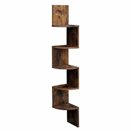 VASAGLE Eckregal mit 5 Ebenen für die Wand, Holzregal, für Küche, Schlafzimmer, Wohnzimmer, Lernzimmer, Büro, Vintage, Dunkelbraun LBC20BX - 1