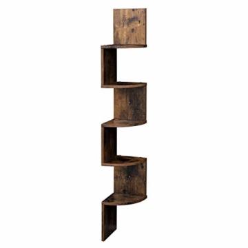 VASAGLE Eckregal mit 5 Ebenen für die Wand, Holzregal, für Küche, Schlafzimmer, Wohnzimmer, Lernzimmer, Büro, Vintage, Dunkelbraun LBC20BX - 4
