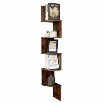 VASAGLE Eckregal mit 5 Ebenen für die Wand, Holzregal, für Küche, Schlafzimmer, Wohnzimmer, Lernzimmer, Büro, Vintage, Dunkelbraun LBC20BX - 5