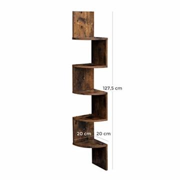 VASAGLE Eckregal mit 5 Ebenen für die Wand, Holzregal, für Küche, Schlafzimmer, Wohnzimmer, Lernzimmer, Büro, Vintage, Dunkelbraun LBC20BX - 7
