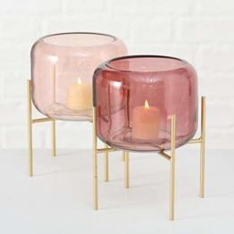 Windlicht Leona 2tlg 2s D15cm rosa Glas lackiert - 1