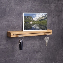 Woods Schlüsselbrett Holz mit Ablage I Nut - Schlüsselhalter modern I Wanddekoration aus Holzhandgefertigt in Bayern I Schlüsselleiste Landhaus Design I Schlüsselboard aus Holz 30 cm Eiche - 1