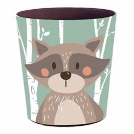 YAKOK Mülleimer Kinderzimmer, 10L PU Leder Tier Dekorativ Papierkorb Kinder für Mädchen Jungen Wohnzimmer Schlafzimmer Kinderzimmer (Bär) - 1