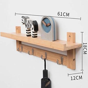 Admir Wandmontage Garderobenleiste Aufbewahrungsregale, Bambus Holz Haken-Rack Regal Oben 6 Metall Haken Badezimmer Wohnzimmer Schlafzimmer-a1 - 2