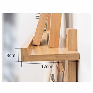 Admir Wandmontage Garderobenleiste Aufbewahrungsregale, Bambus Holz Haken-Rack Regal Oben 6 Metall Haken Badezimmer Wohnzimmer Schlafzimmer-a1 - 3
