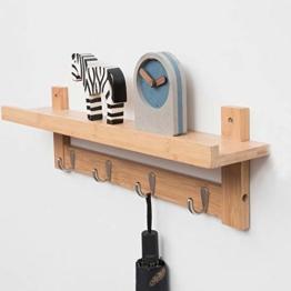 Admir Wandmontage Garderobenleiste Aufbewahrungsregale, Bambus Holz Haken-Rack Regal Oben 6 Metall Haken Badezimmer Wohnzimmer Schlafzimmer-a1 - 1