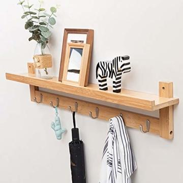 Admir Wandmontage Garderobenleiste Aufbewahrungsregale, Bambus Holz Haken-Rack Regal Oben 6 Metall Haken Badezimmer Wohnzimmer Schlafzimmer-a1 - 4
