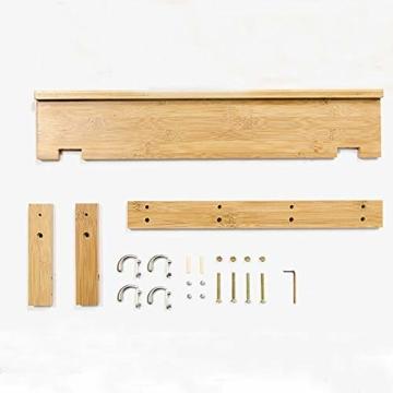 Admir Wandmontage Garderobenleiste Aufbewahrungsregale, Bambus Holz Haken-Rack Regal Oben 6 Metall Haken Badezimmer Wohnzimmer Schlafzimmer-a1 - 6