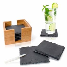 Amazy Schiefer Untersetzer Set (8 Stück) inkl. Kreidestift – Dekorative Glasuntersetzer aus 100% Natur Schieferplatten mit praktischem Halter aus edlem Bambus – Tolle Geschenkidee (eckig | 10x10 cm) - 1