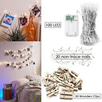 Amteker LED Foto Clip Lichterketten für Zimmer, 100 LED 10M Bilderrahmen dekor für innen, Haus, Weihnachten, Hochzeit, Schlafzimmer (Mit 50 Holzklammern & 20 Nägeln) - 2