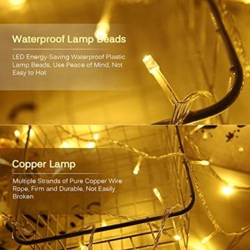 Amteker LED Foto Clip Lichterketten für Zimmer, 100 LED 10M Bilderrahmen dekor für innen, Haus, Weihnachten, Hochzeit, Schlafzimmer (Mit 50 Holzklammern & 20 Nägeln) - 3