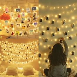 Amteker LED Foto Clip Lichterketten für Zimmer, 100 LED 10M Bilderrahmen dekor für innen, Haus, Weihnachten, Hochzeit, Schlafzimmer (Mit 50 Holzklammern & 20 Nägeln) - 1