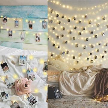 Amteker LED Foto Clip Lichterketten für Zimmer, 100 LED 10M Bilderrahmen dekor für innen, Haus, Weihnachten, Hochzeit, Schlafzimmer (Mit 50 Holzklammern & 20 Nägeln) - 5