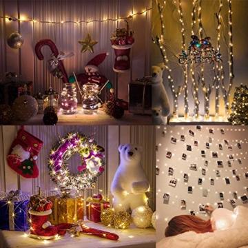 Amteker LED Foto Clip Lichterketten für Zimmer, 100 LED 10M Bilderrahmen dekor für innen, Haus, Weihnachten, Hochzeit, Schlafzimmer (Mit 50 Holzklammern & 20 Nägeln) - 7