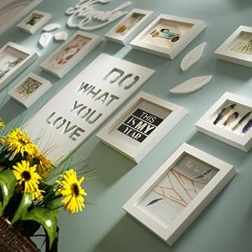 Bilderrahmen Collage Brief pastoralen schlafzimmer wohnzimmer massivholz kreative kreative foto wand ornament rahmen wand Fotorahmenwand ( Farbe : All white ) - 2