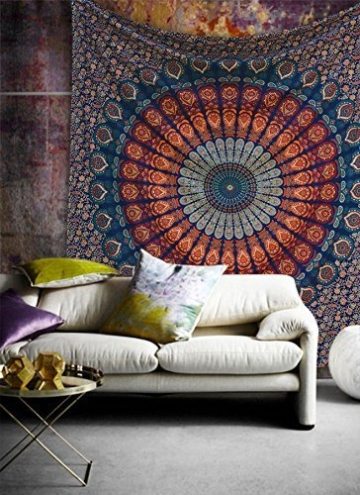 Craftozone Multicolored Mandala Tapestry Indian Wall Hanging, Bed Sheet, Comforter Picnic Beach Sheet, Quality Hippie (Dark Blue, Double) - 2