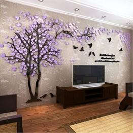 DIY 3D Riesiger Baum Paar Wandtattoos Wandaufkleber Kristall Acryl Malen Wanddeko Wandkunst (XL, Lila, Recht) - 1