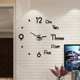 DIY Wanduhr Moderne Clock,Xshuai 21 styles 3D Acryl Spiegel Metall Rahmenlose Wandaufkleber Groß Uhren Style Raum Home Dekorationen Tolles Geschenk MuteAufkleber Office Decor Modern Design Wanduhren - 1