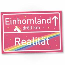 Einhorn Kunstoff Schild - rosa Ortsschild / Ortstafel Einhornland, Deko / Wanddeko, Geschenk - Unicorn Party / Türschild Mädels - Wohnung, Geschenkidee Geburtstagsgeschenk Freundin - 1